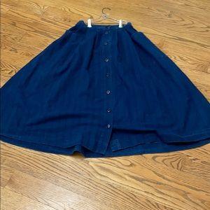 Vintage 80s Laura Ashley Denim Skirt